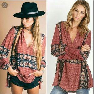 Free People Changing Times tunic blouse top -SM